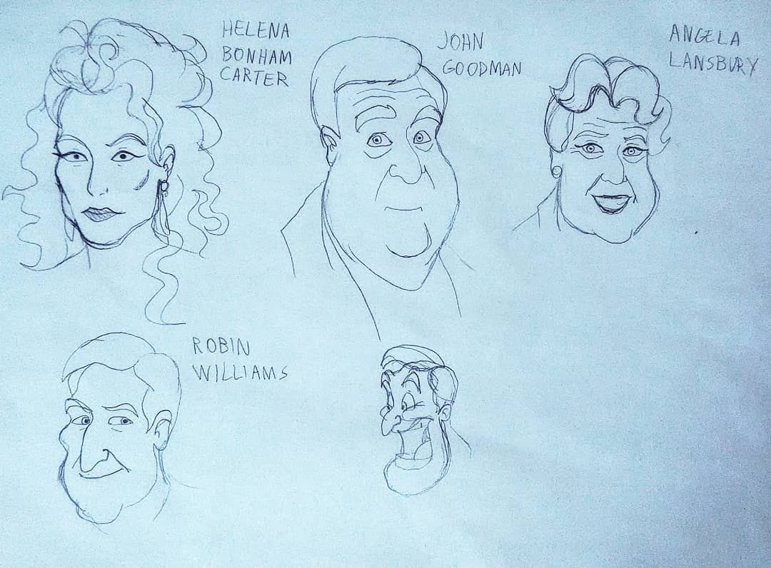 schizzi di attori famosi (Helena Bonam Carter, John Goodman, Angela Lunsbary, Robin Williams)