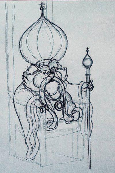 Schizzo di un re basso, brontolone e con le fattezze di un barbagianni sul suo trono